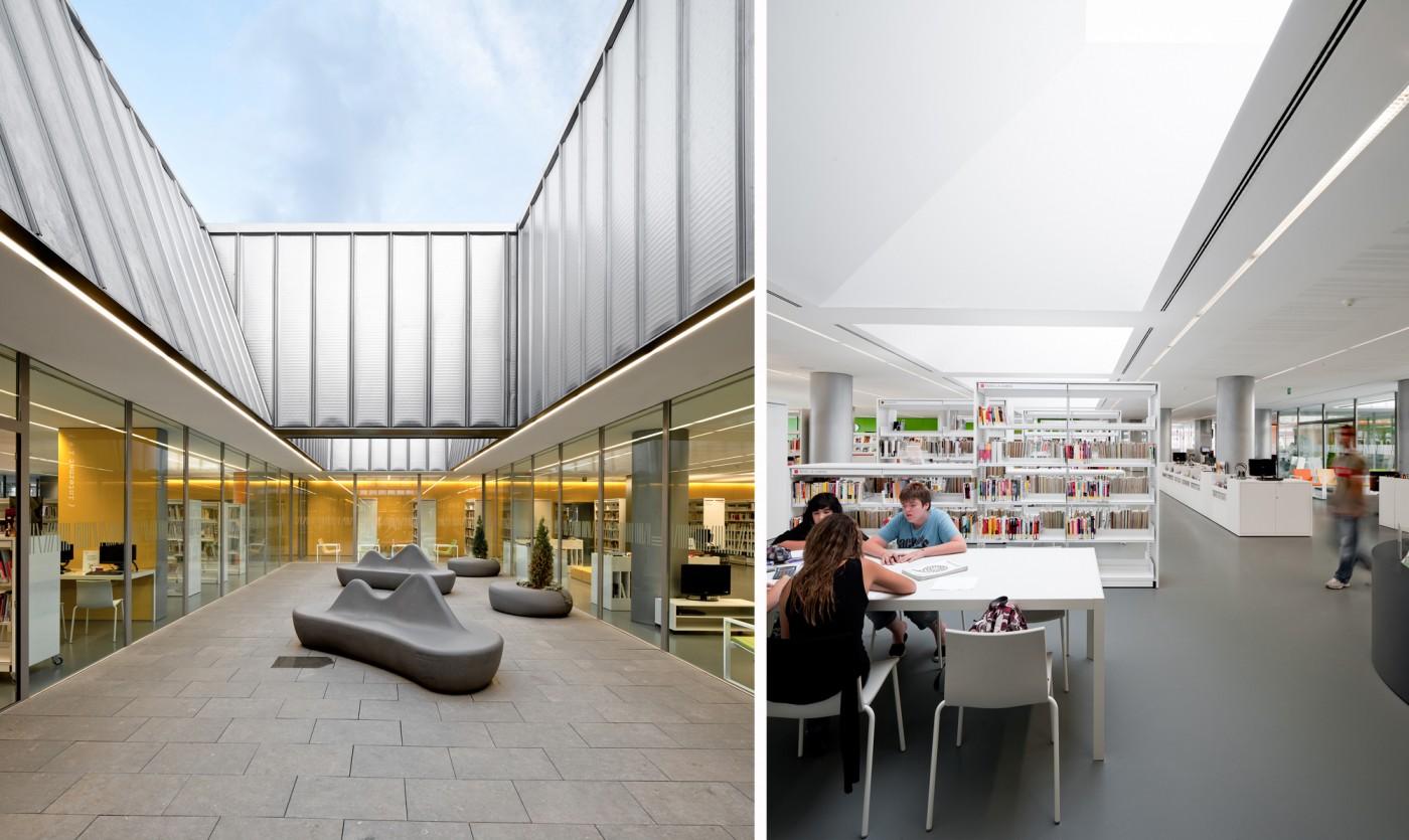 Pati interior biblioteca i sala lectura àrea adults